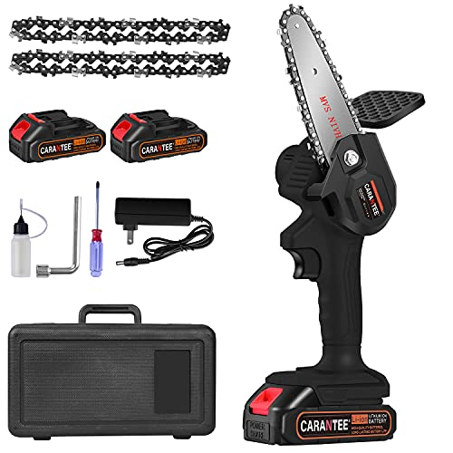 Mini Chainsaw, 4 Inch Cordless Electric Chainsaw,with 2 Pack 24V 2600mAh Rechargeable Lithium-ion Battery 2 Chain, Portable One-Handed Chainsaw for Tree Trimming, Branch Wood Cutting