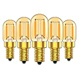 1W E14 T22 candelabro de filamentos LED bombillas (amarillo brillante),Vintage Tubular bombilla de luz nocturna,Ultra blanco cálido 2200K,10W equivalente a 100 lúmenes, intensidad no regulable,5Pack