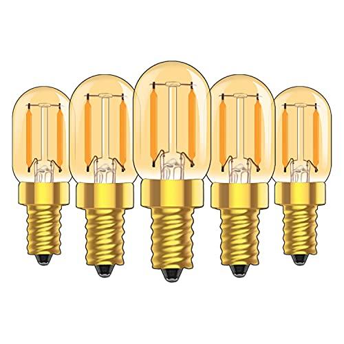 Lampadina LED a filamento di candelabri 1W E14 T22 ambra lampadina tubolare vintage, luce notturna ultra calda 2200K 10 Watt, non dimmerabile, confezione da 5