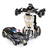 Ai-Fun Pocket Police Car Toy Crashing Transformers 2 in 1 Mini Action Figure with Random Weapon for Kids (Black)