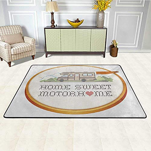 Buy Home Sweet Home Patio Rugs 5' x 7', Embroidery Hoop Cross Stitch Needlework Sewing Design Traile...