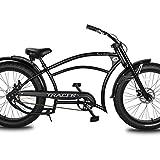 "Tracer Santak Oversize 26"" Chopper Cruiser Bikes for Men,Stretch Steel Frame,Triple Tree Forks,F/R DISC Brake Three Piece Alloy Crank,Alloy Fat Rim 80mm,36H13G Black Spokes,Fat Tire Black 264.0"
