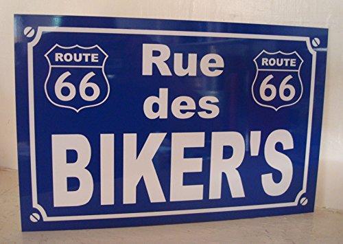 Noir & Mat Sérigraphie Biker's Route 66 Plaque de Rue création Collector Edition limitée Cadeau Original