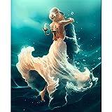 Cuadro de diamantes de imitación,'Pareja bailando en el mar', Cuadrado de pintura de diamantes, Boda, Cristal de pintura de diamante 5D Diy,30x40cm