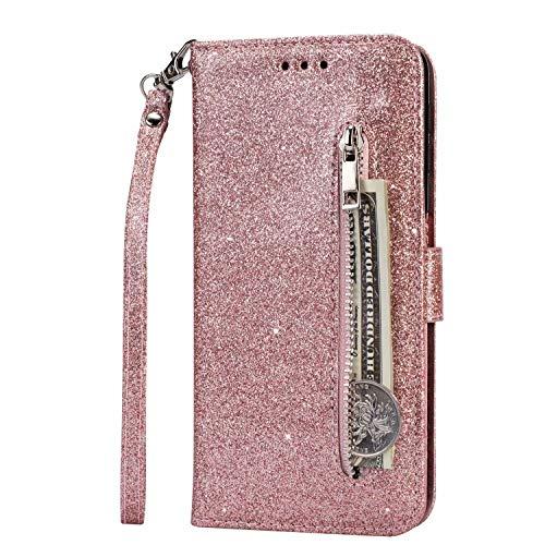 Lijc Compatible con Funda Samsung Galaxy A41 Brillantina Cremallera PU Cuero Wallet con Soporte Plegabley Ranura para Tarjetas Cierre Magnético Funda Abatible Antigolpes-Oro Rosa