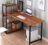 RAAMZO Home Office Study Computer Desk with 4-Tier Shelf, Wood Work-Station PC Laptop Children Table, Walnut Finish