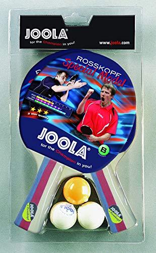 JOOLA Tischtennis-Set Rossi Bestehend aus 2 Tischtennisschläger + 3 Tischtennisbälle, mehrfarbig, One Size