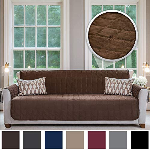 Gorilla Grip Original Velvet Slip Resistant X-Large Oversized Sofa Protector for Seat Width up to 78 Inch, Furniture Slipcover, 2 Inch Straps, Couch Slip Cover Throw for Pet Dogs, Sofa, Chocolate