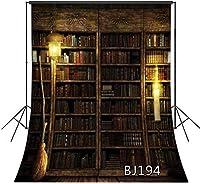 新しいハロウィン背景ヴィンテージ本棚背景写真ほうきキャンドル装飾肖像写真背景カスタマイズされた5x7ft写真撮影小道具