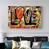TXTYUMR Abstracto Rojo Amor Moderno Street Graffiti Art Canvas Art Posters y Cuadros Impresos en lienzoLas imágenes artísticas de Pared para Sala de Estar | 50x70cm Sin Marco