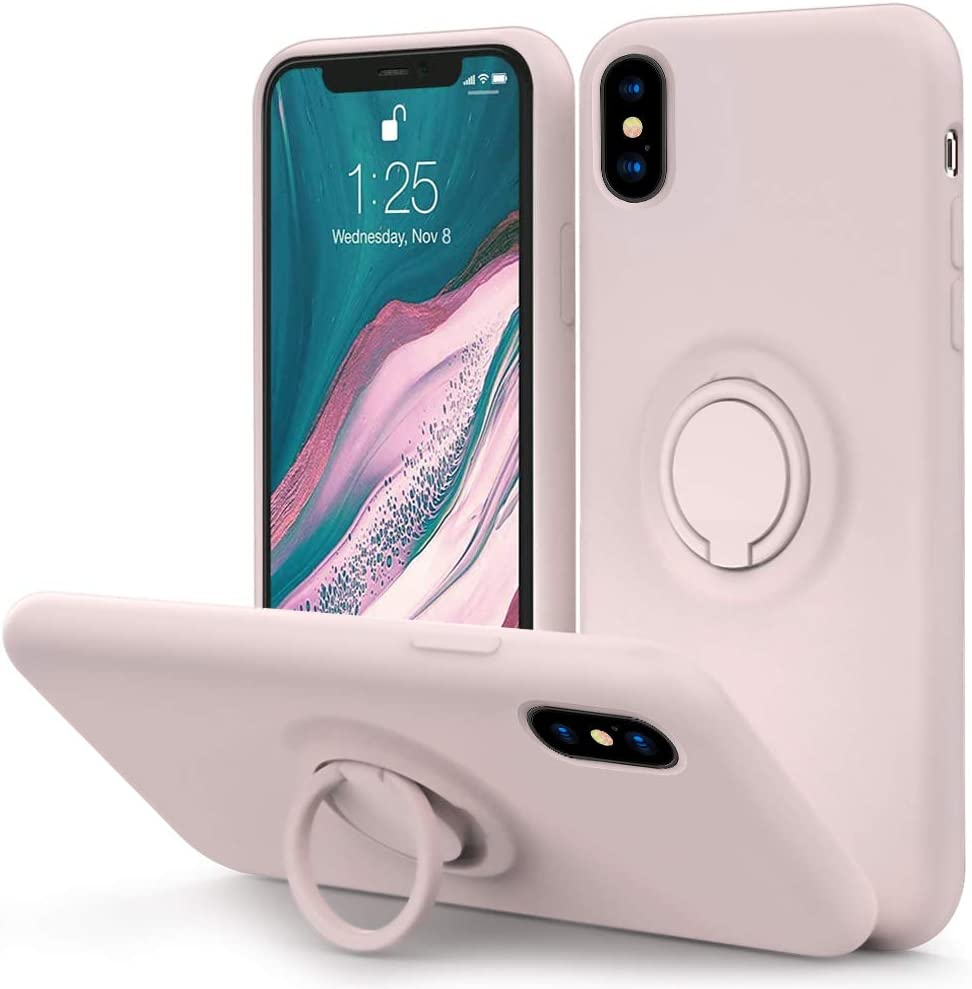 MOCCA for iPhone Xs Case, iPhone X Silicone Case with Kickstand | Anti-Scratch Full-Body Shockproof Protective Case for iPhone Xs/X - Pink Sand