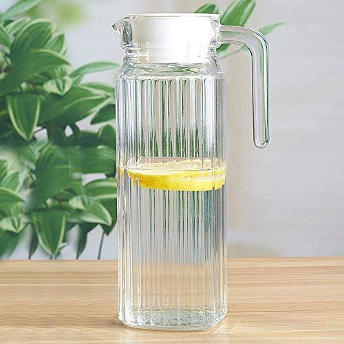 Cjji Teteras, Tetera de vidrio, Botella de jugo Contenedor Taza para el hogar con tapa Olla de ciruela agria Olla  Olla octagonal de 1.1L Individual,1.1l Vertical Bar Pot Single
