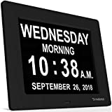INNOCLOCK - Most Advanced Calendar Day Digital Clock - Large, Clear, Unabbreviated Time and Date - Ideal for Memory Loss, Impaired Vision and Seniors (Black, 8-inch)