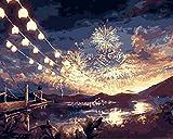 Kits de pintura por números para adultos principiantes, pintura de lienzo con pinceles y pigmento acrílico 6343 temporada de fuegos artificiales