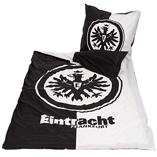 Eintracht Frankfurt Bettwäsche - Kontrast - schwarz-weiß 2-teilig 135 x 200 cm SGE - Plus Lesezeichen I Love Frankfurt