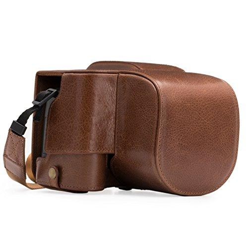 MegaGear Ever Ready - Funda de Piel para cámara Digital Leica V-Lux (Typ 114), Color marrón Oscuro
