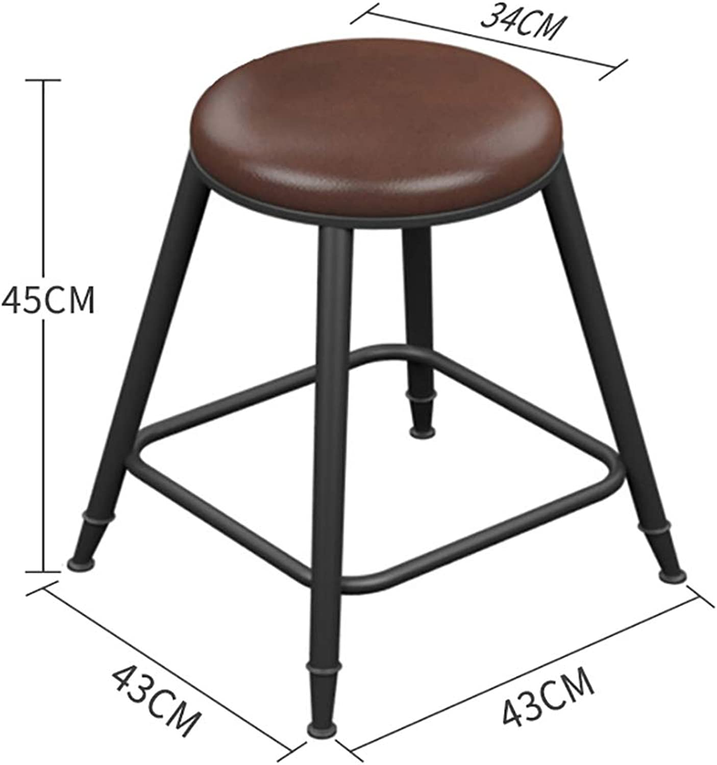 Bar Stool, Nordic Retro Home Wrought Iron high Stool Bar Stool Chair Bar Stool Cashier Chair.