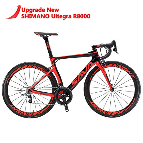 SAVADECK Phantom 2.0 Carbon Fiber Road Bike 700C Racing Bicycle with Ultegra 8000 22 Speed Group Set, 25C Tire and Fizik Saddle (New Red, 560MM)