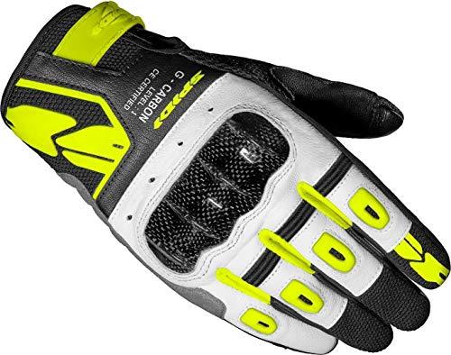 Spidi G-Carbon Damen Motorrad Handschuhe Schwarz/Weiß/Gelb M