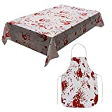 Scary Halloween Bloody Apron Bloodstained Tablecloth with Blood Handprint
