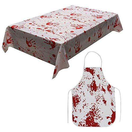 DesignerBox Delantal de Halloween con sangre, mantel, con estampado de sangre de terror y salpicadura impresa, zombi espeluznante, doctor loco cientfico, asesinato, disfraz de carnicero