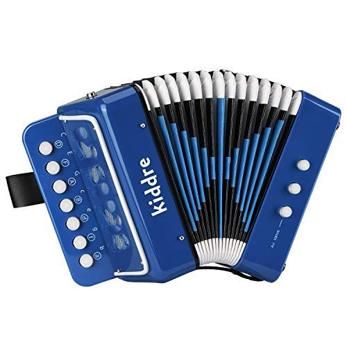 Kiddire Acordeón para niños, 10 teclas botón de juguete instrumentos musicales de acordeón para niños niños prekindergarten niños principiantes (azul)