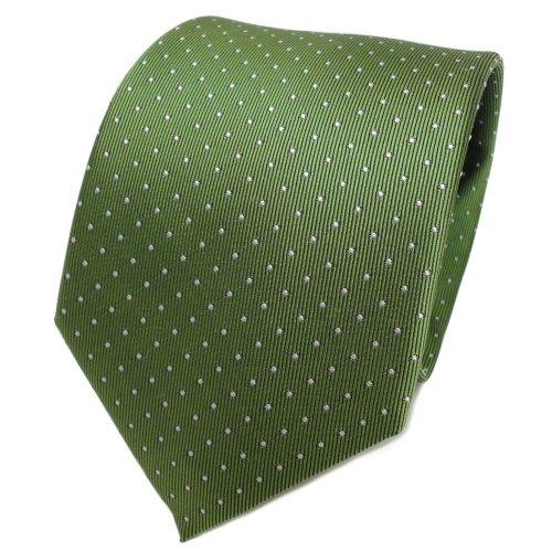 TigerTie Designer Seidenkrawatte in grün maigrün silber gepunktet