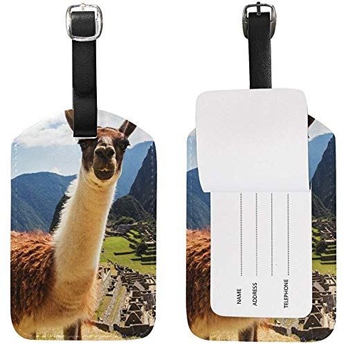 Funny Lama Luggage Tag Travel ID Label Leather for Baggage Suitcase 2 Piece