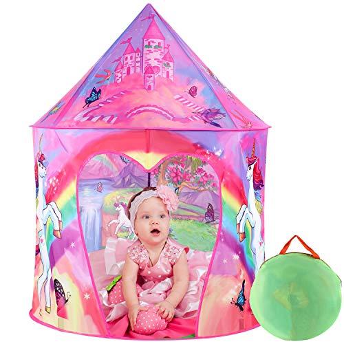 Tacobear Kinderspielzelt Mädchen Einhorn Prinzessin Spielzelt für Kinder Pop up Spielzelt Tragbare Faltbare Kinderzelt Spielhaus für dinnen und draußen mit Tragetasche