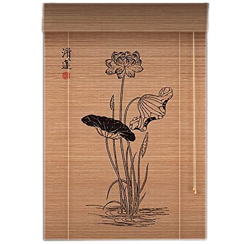 Estores Enrollables Persianas enrollables de patio para exteriores de 24 pulgadas, persianas enrollables de bambú natural montadas en la pared para decoración de cenador / jardín, fácil de instalar