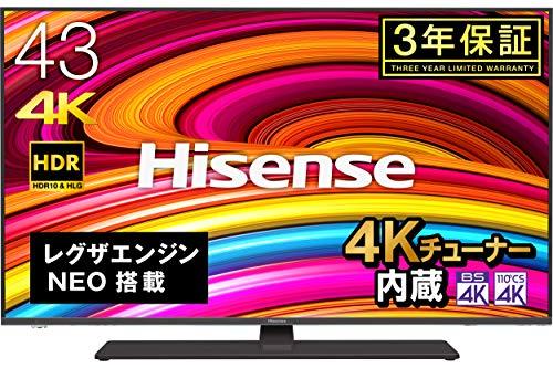 ハイセンス Hisense 43V型 4Kチューナー内蔵液晶テレビ レグザエンジンNEO搭載 HDR対応 -外付けHDD録画対応(W裏番組録画)/メーカー3年保証-43A6800