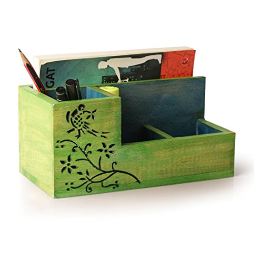 ExclusiveLane Wooden Decorative Study Table Organizer Cum Pen Stand (Green)