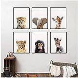 xwwnzdq 6 Stück Löwe Zebra Elefant Giraffe Tiere Wand Kunstdruck Poster Tiere Bild Leinwand Malerei Kinderzimmer Kinderzimmer Wanddekor 30x40 cm Kein Rahmen
