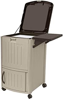 Suncast Outdoor Cooler with Wheels - Portable Outdoor Bar Cart to Store Ice, Drinks, and Frozen Treats - Store on Deck or Patio - Taupe and Brown