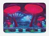 MAYUES Súper Suave Alfombra Antideslizante Setas mágicas con diseño de neón Vibrante Imagen gráfica Impresión del Tema del Bosque Encantado Piso Baño Alfombra Lavable a Máquina-75 X45 cm