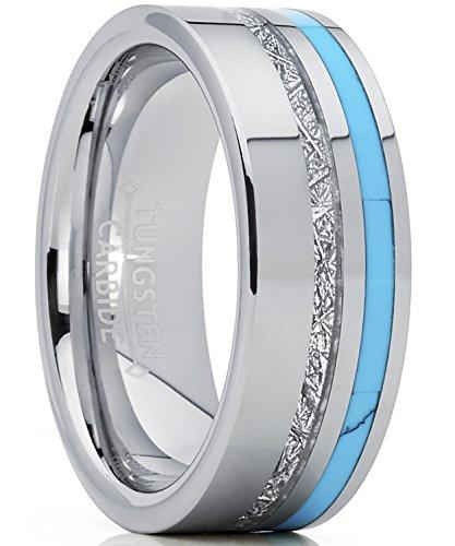 8MM Herren Wolframcarbid Ring mit Türkis und Meteorit Einlage Verlobungsringe Trauringe Hochzeitsband Bequemlichkeit Passen Größe 63