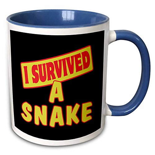 3dRose Snake Survival Pride And Humor Design Two Tone Mug, 11 oz, Blue/White