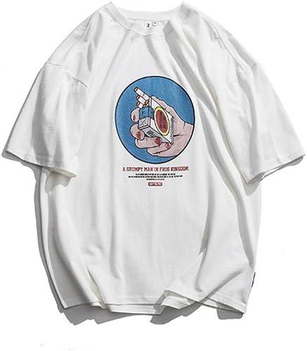 ChuangYing T-Shirt Cigarette Imprimer Col Rond Manches Courtes Japonais RéTro MaréE Marque T-Shirt pour Hommes en Vrac