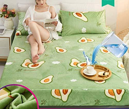 RKZM Koraal Fluweel Waterdichte Bed Cover Luier Ademend Antislip Vaste Flanel Verdikking Beschermende Mouw 180X200Cm