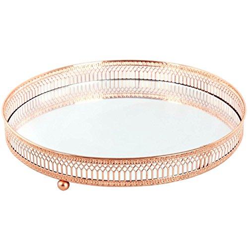 Spiegelteller mit Einfassung aus Kupfergitter, Kerzen-/ Teelichthalter, metall, S