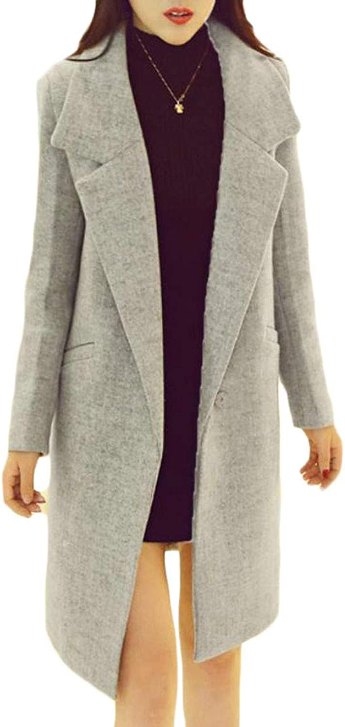 Sayhi Womens Outwear Lapel Autumn Woolen One Button Long Sleeve Trench Coat