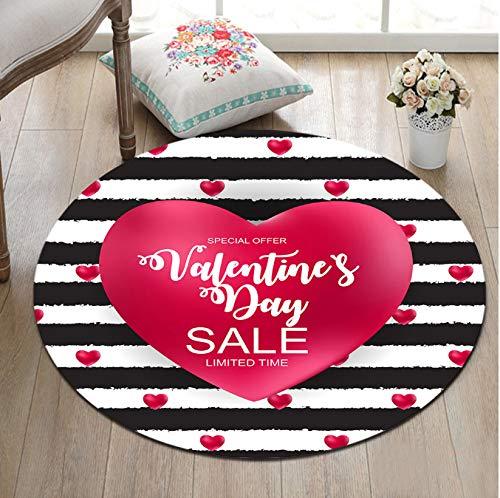 Mianbao Runder Teppich Rote Herzen Bereich R und Memory Foam Schwarzweiß-Streifen für Kinder Baby Home Home Zimmer Schlafzimmer Zimmer Kissen Ba Th Mat 120 cm