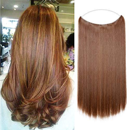 Silk-co 50cm Extension Capelli Finti Filo Invisibile Fascia Unica per Capelli Lisci Hair Extension con Filo Trasparente-Biondo Scuro Mix Marrone Medio