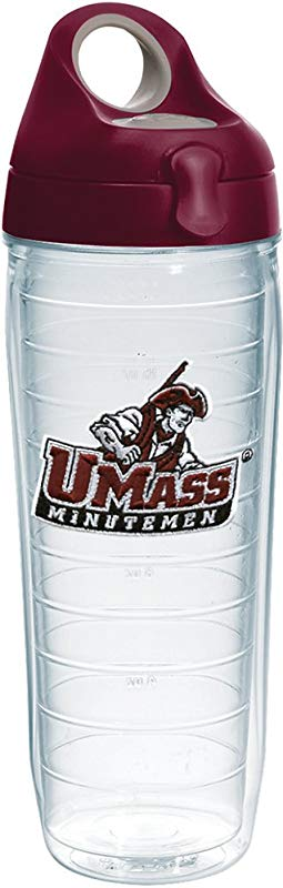 Tervis 1232290 Umass Minutemen Insulated Tumbler With Emblem And Maroon Lid 24 Oz Clear