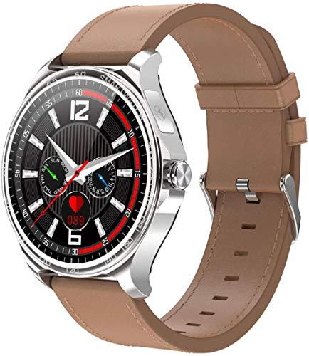 Smart Watch 1 3 pulgadas de alta definición Full Touch Ips pantalla a color de llamada entrante recordatorio de llamada Bluetooth llamada para Android y Ios-plata cuero
