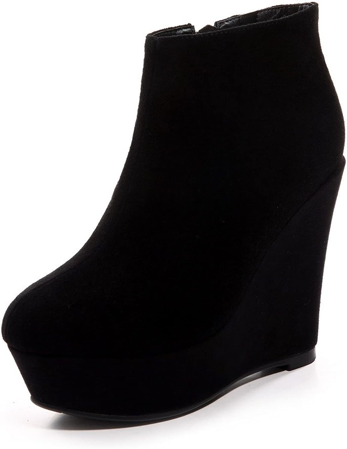 AmoonyFashion Women's Round Toe Closed Toe High Heels Boots with Platform and Slipping Sole