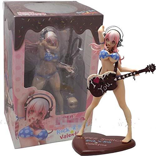BAONIOU Anime Statue 25 cm Anime Action Figure Super Sonico Schokolade & Gitarre Bikini Mädchen Ver 1/7 Skala PVC Cosplay Kinder