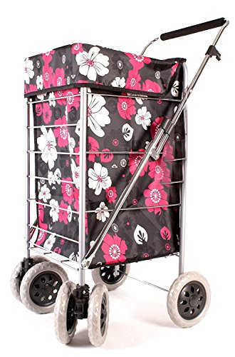 Premium 6 Wheel Swivel Shopping Trolley with Adjustable Handle Black with Pink and White Floral Print