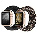 Scrunchie Elastic Smartwatch Band for Apple Watch Band 38mm/40mm/42mm/44mm, Scrunchy Replacement Bracelet Wrist Band for iWatch Series 5 4 3 2 1 (Black+Leopard, 38/40mm)