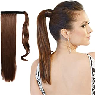 120g Long Straight Wrap around Ponytail Extensions Clip in Ponytail Hair Extensions Hairpiece for Black Women By Remeehi 18 inch 30#